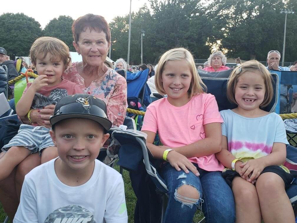 Kathy Whitinger enjoying the Maddie Poppe concert with her grandkids- Miles, Evie, Ada and Lucas Whitinger.